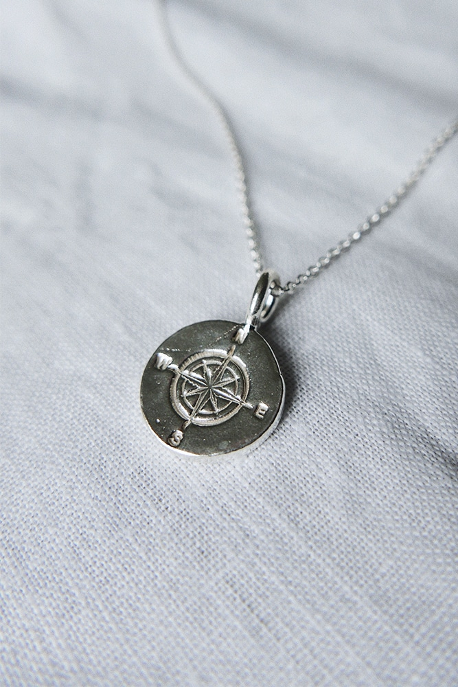 engraved silver compass necklace