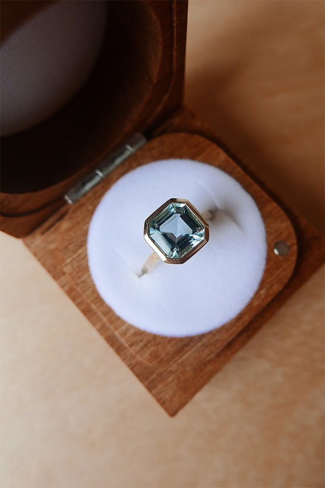 finished piece, bespoke aquamarine engagement ring in box