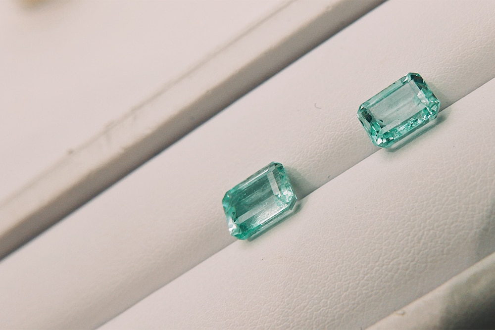 a pair of Nigerian emeralds